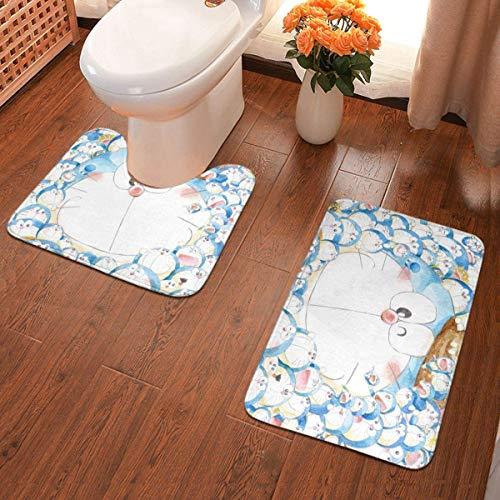xuexiao Doraemon - Juego de 2 alfombrillas de baño para baño con almohadillas antideslizantes suaves + almohadillas de contorno, alfombra absorbente para baño
