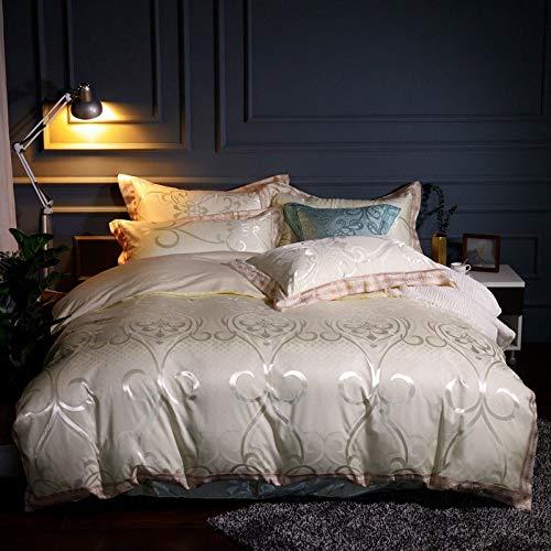 yaonuli Satin Jacquard vierdelige bedlakens dekbedovertrek 1,8 m2,0 meter bed persoonlijke stijl - beige 220 * 240
