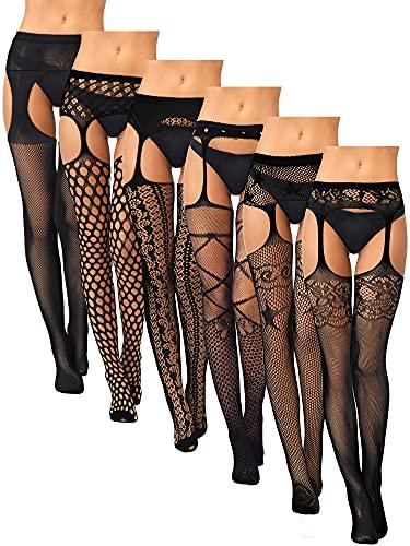 6 Pairs Women Fishnet Thigh High Stockings Tights Suspender Pantyhose Stockings (Black,X-Large-XX-Large)