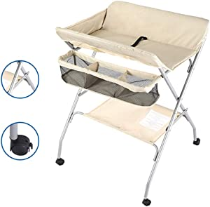 Changing Tables Portable Diaper Table  Foldable Babys with Wheels  Diaper Station Nursery Organizer for Infant  Color Beige