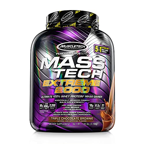 Muscletech Mass Tech Extreme (Post-Workout, 80g Protein, Over 400g Carbs, 2260 Calories) - 7 lbs (3.17 kg) (Triple Chocolate Brownie)