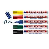 edding 3000 Permanentmarker - rot, blau, gün, gelb, schwarz - 5er Set - Rund-Spitze 1,5-3 mm -...