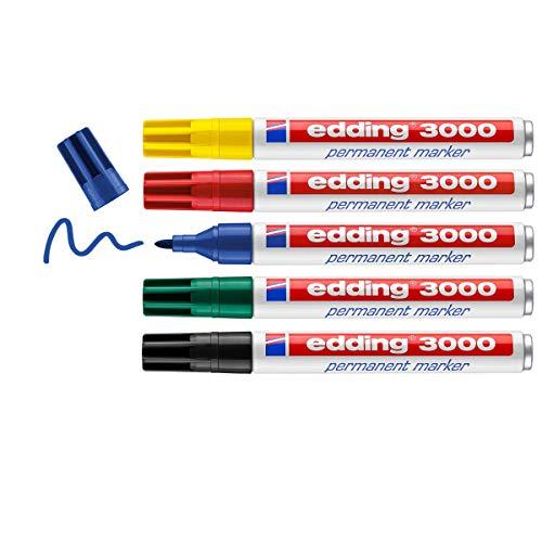 edding 3000 Permanentmarker - rot, blau, gün, gelb, schwarz - 5er Set - Rund-Spitze 1,5-3 mm - schnell trocknend, wasserfest, wischfest - für Karton, Kunststoff, Holz, Metall - Universalmarker