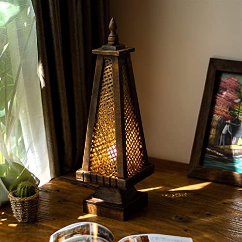 JSJJATQ Lámpara de Mesa Estilo asiático del sudeste Thai Wood Solid Bamboo Lámpara de bambú Iluminación Retro Lámpara Decorativa de Madera Lámpara de Noche Minimalism