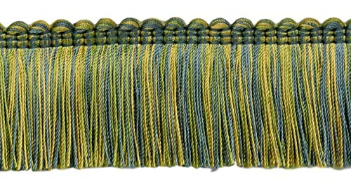 DÉCOPRO 5 Yard Value Pack - Alexander Collection 2 inch Brush Fringe Trim|Gold, Green, Blue|Style#: 0200AXB (21763)|Color: Mermaid - LX04 (15 ft/4.6 M)