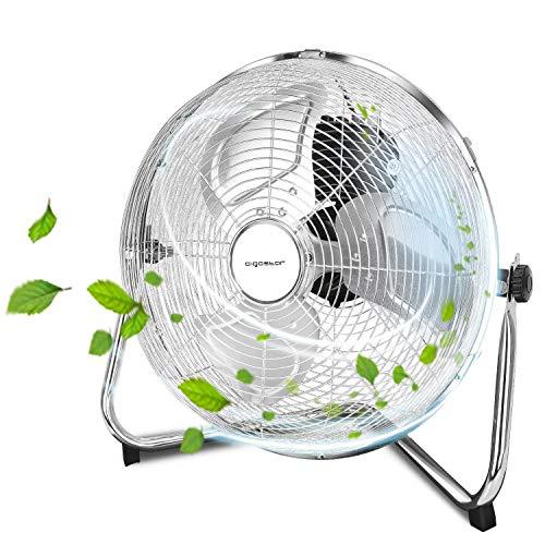 Aigostar Eddie - Ventilador industrial, 3 Velocidades, Ajustable 135º, 3 aspas metálicas, 14' (35cm aprox). Motor de cobre. Diseño completo de metal cromado. Silencioso. 60 W