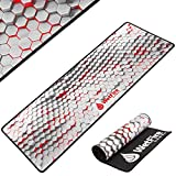 Extended Gaming Mouse Mat/Pad - XL Large, Wide (Long), Stitched Edges | 37.4W x 13L, 5mm Thickness (White_Red)