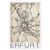 artboxONE Poster 60x40 cm Städte Erfurt Retro Map Germany