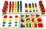 TOWO Figuras geométricas de Madera y Formas de Fracciones - Juego de...