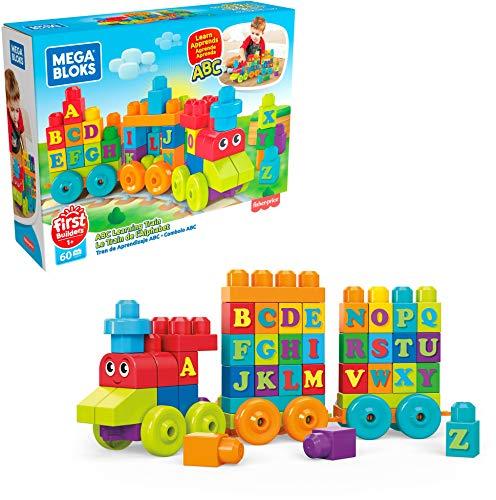 Mattel Mega Bloks FWK22 ABC Musikzug mit Geräuschen, 50 Teile