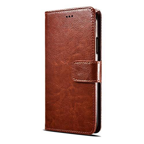Fertuo Nokia 7.2 Hülle, Handyhülle Leder Flip Hülle Tasche mit Standfunktion, Kartenfach, Magnetschnalle, Silikon Bumper Schutzhülle Wallet Cover für Nokia 7.2 Smartphone, Braun