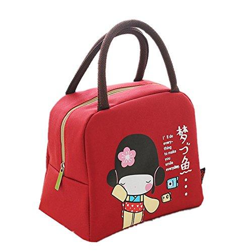 Freessom Sac Isotherme Repas Sac à Déjeuner Simple Lunch Box Femme Enfant Fille Motif Mignon Fillette Bag Emporter Portable Chaud Zipper Organiseur de Voyage Camping Pique-Nique (Rouge)