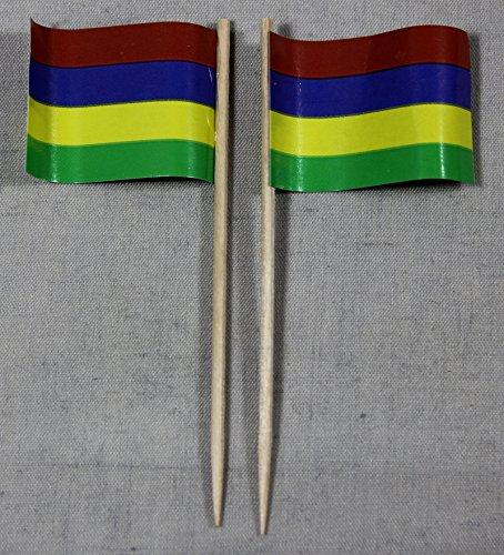 Buddel-Bini Party-Picker Flagge Mauritius Papierfähnchen in Profiqualität 50 Stück Beutel Offsetdruck Riesenauswahl aus eigener Herstellung