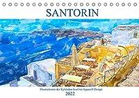 Santorin - Illustrationen der Kykladen Insel im Aquarell-Design (Tischkalender 2022 DIN A5 quer): Trauminsel der Aegaeis (Monatskalender, 14 Seiten )