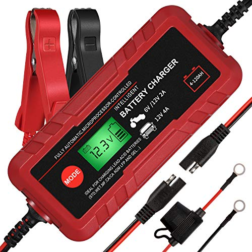 Purchase Adakiit 6/12V 4A Smart Battery Charger/Maintainer Fully Automatic 8-Stages Trickle Charger ...