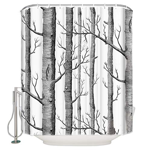Olivefox Fabric Shower Curtain, White Birch Forest Old Branches Tree Grey Polyester Bath Curtain Set with Hooks, Easy Care Decorative Waterproof Home/Hotel Bathroom Curtains, 54x78IN