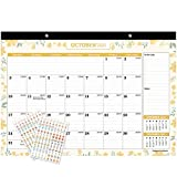 Mokani Desk Calendar Jan. 2021 - Jun. 2022, Large Monthly Wall Calendar with Plastic Cover: 17'x12', 18 Months Academic Year Desk Pad Calendars with Planner Stickers