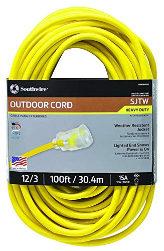 Southwire 02589SW Outdoor Extension Cord- 12/3 American Made SJTW Heavy Duty 3 Prong Extension Cord- Great for Commercial Use, Gardening, and Major Appliances (100 Foot- Yellow) (Renewed)
