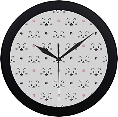JXCSGBD Modern Simple Cute Cat Faces On White Pattern Wall Clock Indoor Non-Ticking Silent