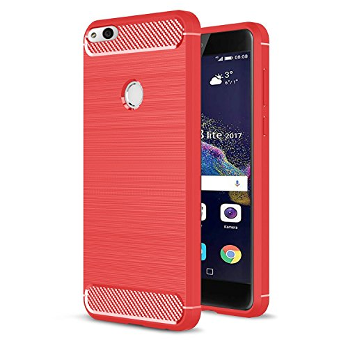 Custodia Huawei P8 Lite 2017 Rosso , SUNSU Protettiva Case Cover Custodia in silicone per Huawei P8 Lite 2017 Smartphone
