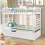 Merax Bunk Bed Twin Over Twin with Trundle Bed and End Ladder in White