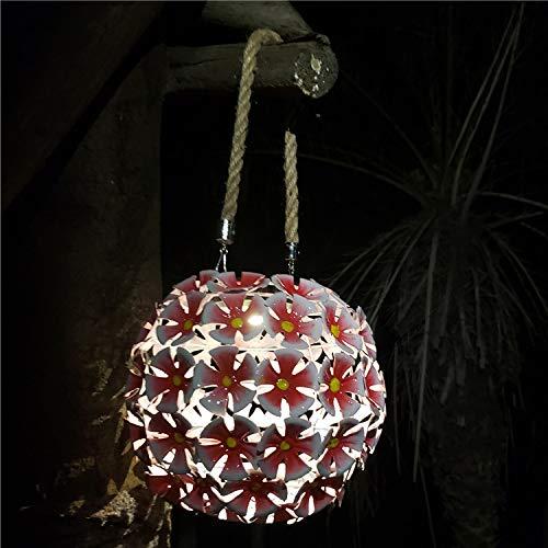 MLXLX luz exterior linterna solar hierro forjado linterna hueca luz led luz de jardín