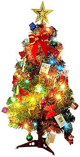 GDYJP Mini árbol de Navidad con DIRIGIÓ Luces, Decoración de árboles de Vacaciones Artificiales de 24 Pulgadas con Adornos Colgantes, lo Mejor Bricolaje Decoraciones de Navidad