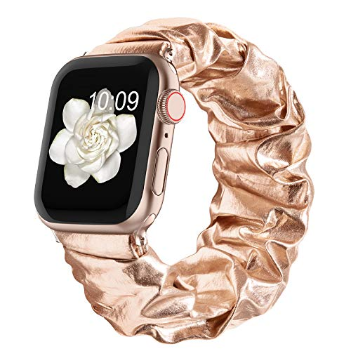 Compatible with Scrunchie Apple Watch Bands 38mm 40mm 42mm 44mm for Women Girl, Canvas Scrunchy Elastic Stretch Glitter Cloth Bracelet Strap for iWatch Series 6 5 4 3 2 1 Se, Rosegold 38/40mm Small