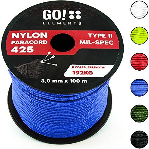 GO!elements 100m Paracorde en Nylon indéchirable - 3mm Corde Paracord 425 Type II Lignes comme Corde extérieure, Corde Tout Usage, Corde de Survie - Ligne en Nylon Max. 192kg, Couleur:Bleu
