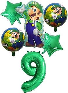 بالونات هوت بالونز والاكسسوارات - 6 قطع بالون سوبر ماريو 76.2 سم، بالونات الأرقام للأولاد والبنات حفلة عيد ميلاد ماريو لوي...