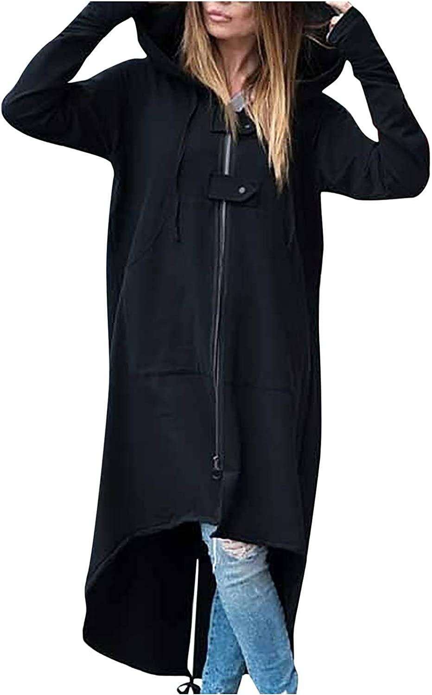 Women's Long Hoodie Solid Pullover Maxi Cardigan Casual Long Sleeve Loose Sweatershirt Hoodie Open Front Streetwear