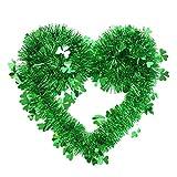 Atrumly Cinta de metal, corona de San Patricio, decoración de puerta, trébol verde, para interiores y exteriores, guirnalda de fiesta, trébol de la suerte, decoración de árbol