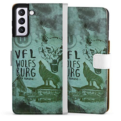 Klapphülle kompatibel mit Samsung Galaxy S21 Plus 5G Handyhülle aus Leder weiß Flip Case Bundesliga VFL Wolfsburg Fanartikel