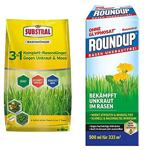 Substral 3 in 1 Komplett Rasendünger mit Unkrautvernichter und Moosvernichter, 14 kg für 400 m² & Roundup Rasen-Unkrautfrei Konzentrat, Spezial-Unkrautvernichter zur Bekämpfung, 500 ml für 330 m²