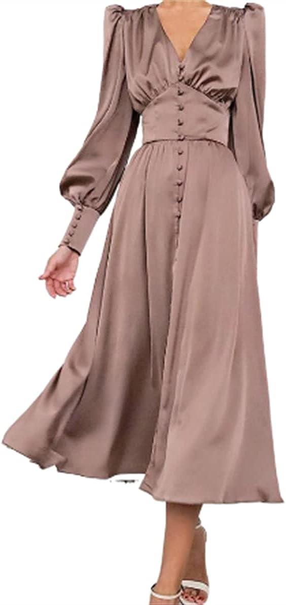Women's Satin Lantern Sleeves Waist Slim Slim Buttoned Long Dress