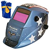 Tanox Auto Darkening Solar Powered Welding Helmet ADF-206U(USA POWER): Shade Lens, Tig Mig MMA, Adjustable Range 4/9-13, Grinding 0000, Plus 16 Inch Kevlar Fire Retardant Welding Gloves