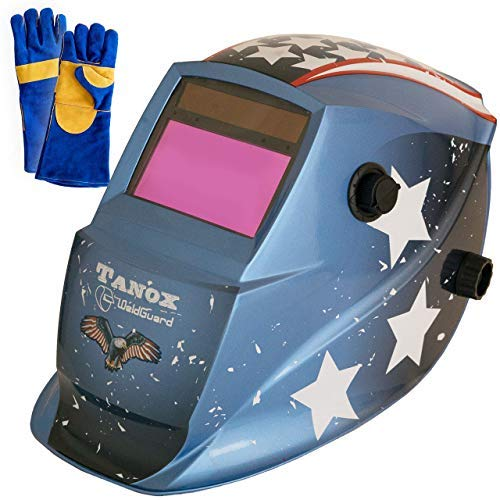 Tanox Auto Darkening Solar Powered Welding Helmet ADF-206U(USA POWER): Shade Lens, Tig Mig MMA, Adjustable Range 4/9-13, Grinding 0000, Plus 16 Inch Kevlar Fire Retardant Welding Gloves