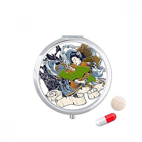 DIYthinker Japan Kimono Vrouw Samurai Zwaard Travel Pocket Pill case Medicine Drug Storage Box Dispenser Spiegel Gift