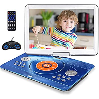16.9  Portable DVD Player with 14.1  Large Swivel Screen Car DVD Player Portable with 4 Hrs Rechargeable Battery Mobile DVD Player for Kids Sync TV Support USB SD Card with Car Charger  Blue