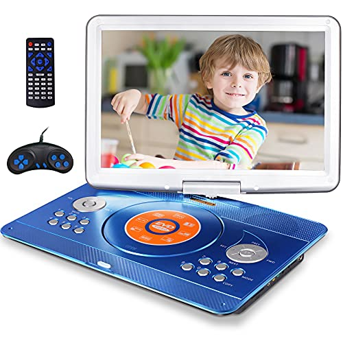 """16.9"""" Portable DVD Player with 14.1"""" Large Swivel Screen, Car DVD Player Portable with 5 Hrs Rechargeable Battery, Mobile DVD Player for Kids, Sync TV, Support USB SD Card with Car Charger (Blue)"""