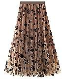 FEOYA Jupe Plissée en Mousseline de Voile Jupe Femme Trapèze Mi Longue Femme pour Printemps-Eté Marron,Taille Unique