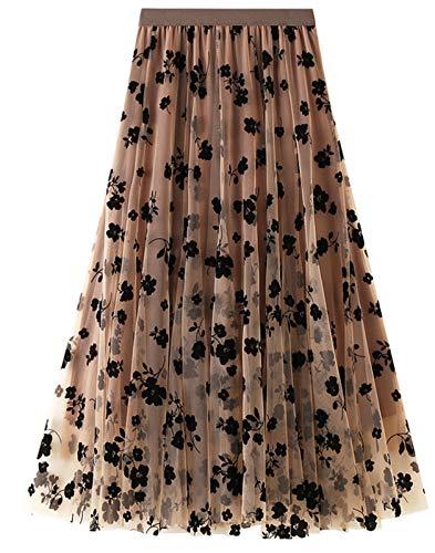 FEOYA Damen Tüllrock Weiche Tüll Petticoat A-Linie Großer Saum Midi Röcke Lang Blumenmuster 3 Schichten Faltenrock - Khaki