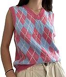 Girls Women Argyle Sweater Vest Knit V-Neck Plaid Vintage Streetwear Preppy Style Knitwear Crop Tank Top Outerwear (Pink Grid, Large)