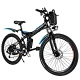 ANCHEER Bici Elettrica Pieghevole, 26'' Mountain Bike Elettrica con Batteria Rimovibile 36V 8Ah, Bicicletta Elettrica con Sospensione Completa, 3 Modalità e Professionale 21 Velocità