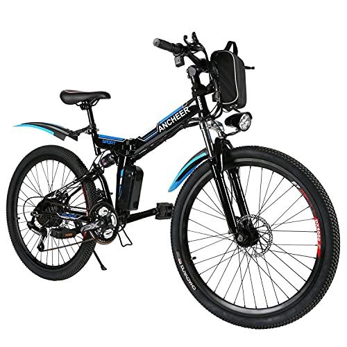 ANCHEER Bici elettrica pieghevole, bici elettrica 26'' per adulti Mountain bike elettrica e-bike con doppio assorbimento degli urti, freni a disco posteriori e font e 21 velocità professionali