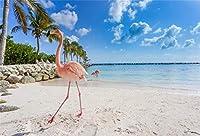 HD 7x5ftフラミンゴビーチの背景写真の背景海辺の自然風景子供恋人少年少女大人芸術的ポートレートホリデーフォトスタジオ小道具ビデオドレープ壁紙