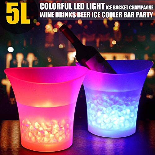 PeSandy LED Ice Bucket, 5L Large Capacity Wine Ice Bucket Drink Containers with Multi Colors Changing for Party/Home/Bar, Waterproof Champagne Retro Wine Drink Beer Beverage Ice Bucket Battery Powered