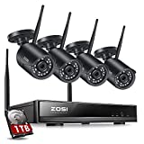 ZOSI H.265+ 1080p Wireless Security Camera System for Home, 8CH Network Video Recorder (NVR) with 4 x 2MP Auto Match WiFi IP Camera Outdoor Indoor, 80ft Night Vision, 1TB HDD Included