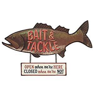 Open Road Brands Fish Bait and Tackle Close/Open Rustic Tin Metal Wall Art - an Officially Licensed Product Great Addition to Add What You Love to Your Home/Garage Decor