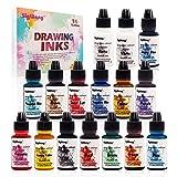 Alcohol Ink Set - 16 botellas de tinta de alcohol con colores vibrantes, tinta concentrada a base de alcohol, pintura de resina epoxi concentrada, ideal para platos de resina Petri, vasos (10 ml)